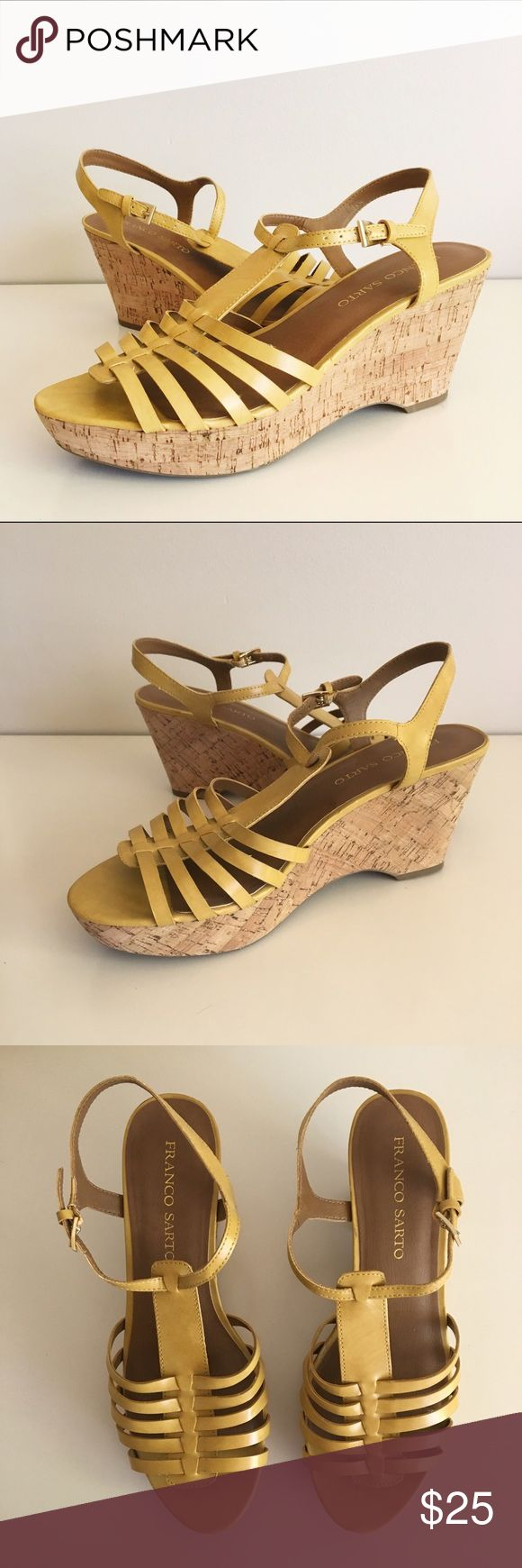 """Franco Sarto Yellow Strappy Wedges Size 10 CUTE Franco Sarto Yellow Strappy Wedges. Size 10. These are perfect for spring and summer. Cork heel. Great Used Condition. Heel: 3 1/2"""". Platform: 1 1/2"""" Franco Sarto Shoes Wedges"""