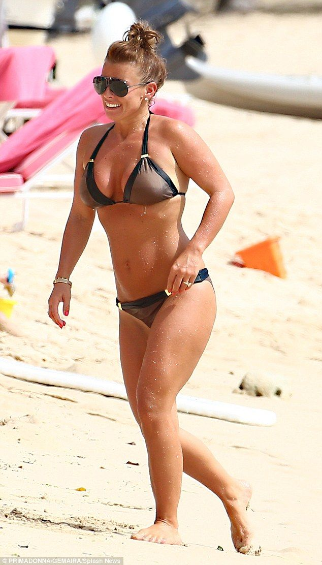 One hot momma! Coleen Rooney sizzled in contrast triangle bikini on Wednesday in Barbados...