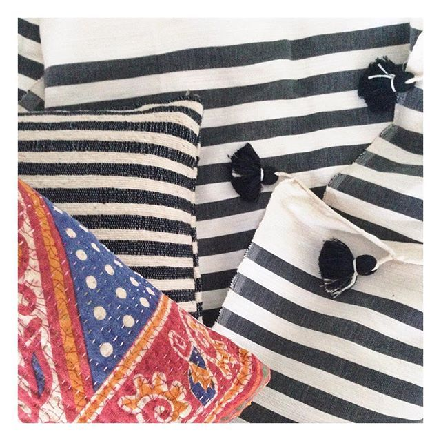 Stripes, spots and Pom Poms... What more could you want. Our handwoven wool stripe cushion, Pom Pom blanket and the beautiful carnival kantha cushion. #globalliving #interiordesign #interiordecor #interiorinspo #pompomblanket #cushion #stripes #spotsandstripes #colourpop #blackandwhite #handwoven #northernbeaches #sydney