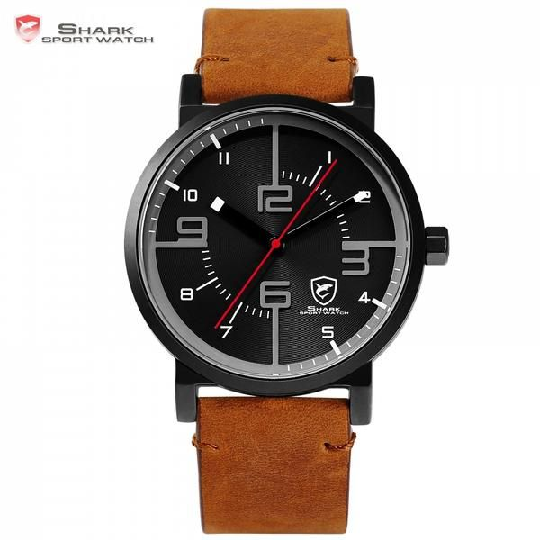 Bahamas Saw SHARK Sport Watch Luxury Brand Men Clock Male Quartz Brown Crazy Horse Leather Waterproof Casual Relogio Gift /SH568