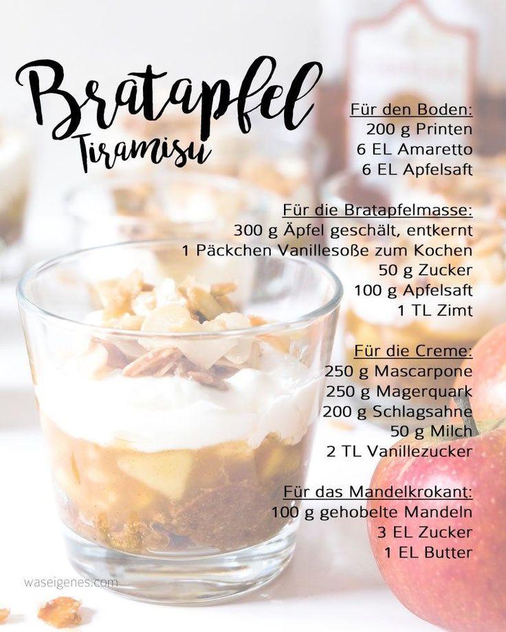 Köstliches Bratapfel Tiramisu | Herbst- Winter Dessert | Printen, Amaretto, Äpfel, Mascarpone, Mandekrokant | Rezept | waseigenes.com DIY Blog