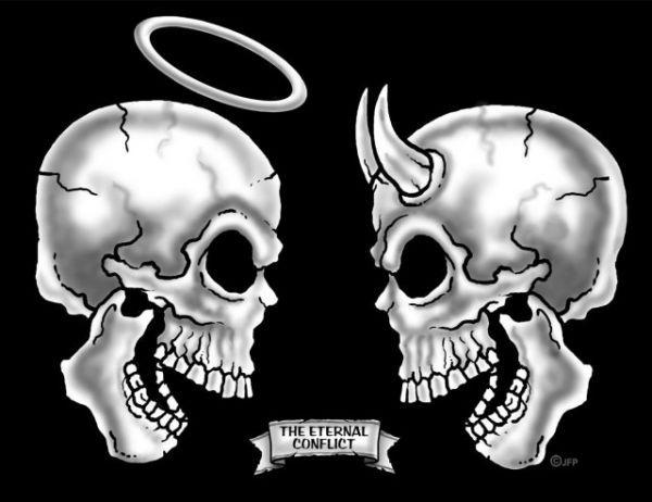 skulls | The Eternal Conflict Skulls - GOOD VS EVIL - HEAVEN VS HELL T-shirt ...