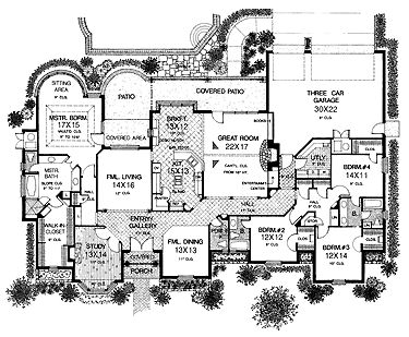 1000 images about one level house plans on pinterest for Sprawling ranch floor plans