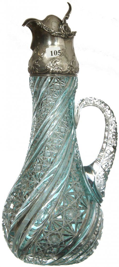 """MAGNIFICENT! 16"""" AMERICAN BRILLIANT CUT GLASS TURQUOISE CUT TO CLEAR CLARET JUG - Embossed Gorham Sterling Spout With Hinged Lid-Pattern Cut Handle-Modified Russian, Zipper & Pillar Swirl Motif Attributed To J. Hoare"""