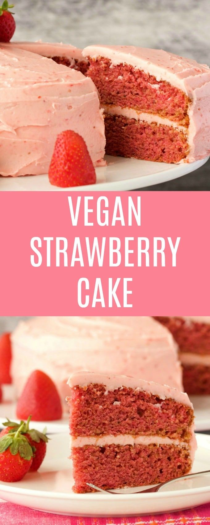 Light, fluffy and deliciously moist vegan strawberry cake with strawberry frosting. This pretty pink cake is packed with strawberry flavor and goodness. Vegan | Vegan Cake | Vegan Dessert | Dairy Free | #vegan #lovingitvegan #vegancake #dairyfree #dessert | lovingitvegan.com