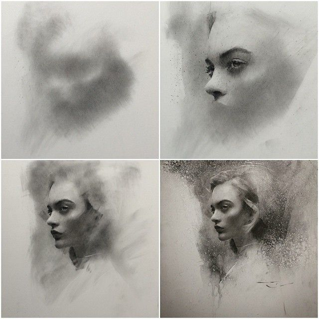 Charcoal progression. ➰ #art #charcoal #drawing #caseybaugh #sold…
