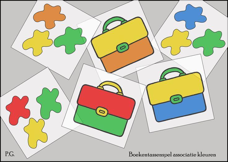 Zoek aan de hand van de vlekkenkaart de juiste boekentas die dezelfde kleuren heeft! Kleuren inoefenen.