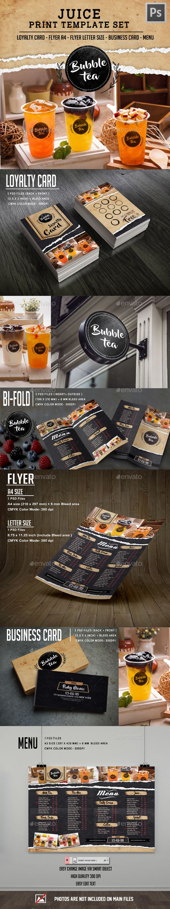 Juice Drink Menu Set  -  PSD Template • Only available here! →…