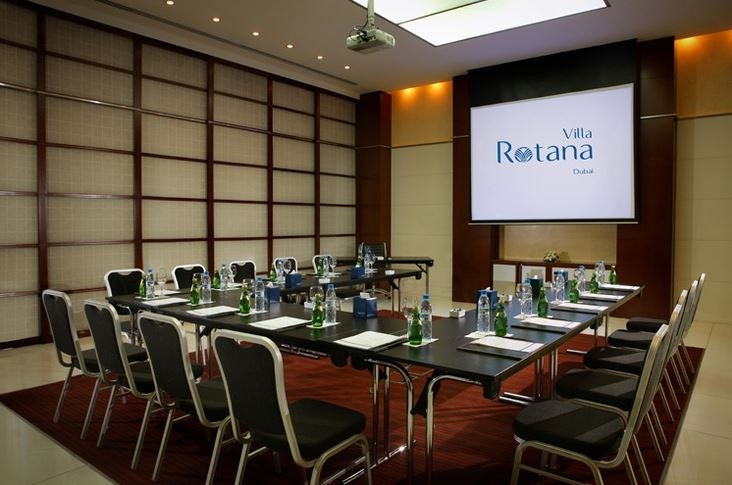 Villa Rotana Dubai is the perfect venue for all your conferences and conventions. 7 multifunctional daylight meeting rooms with the state-of-the-art audio visual equipment and best modern facilities have been especially designed to suit all business needs. Secretarial services and a business corner are also available.