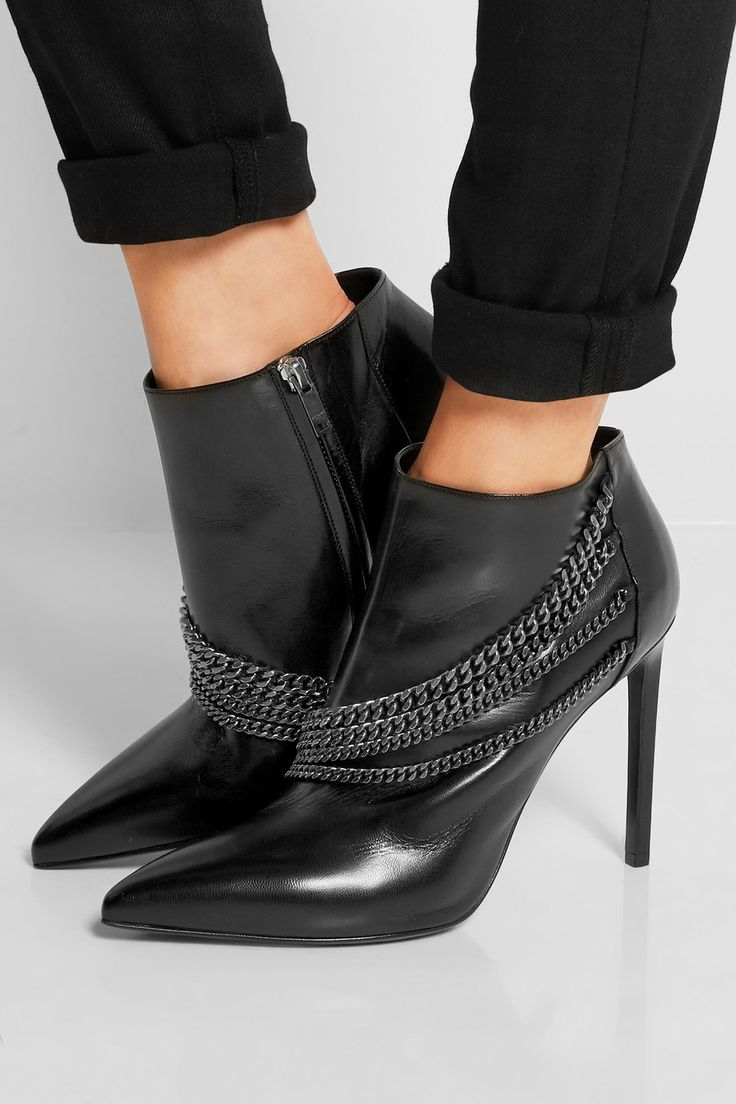 Saint Laurent | Chain-embellished leather ankle boots | NET-A-PORTER.