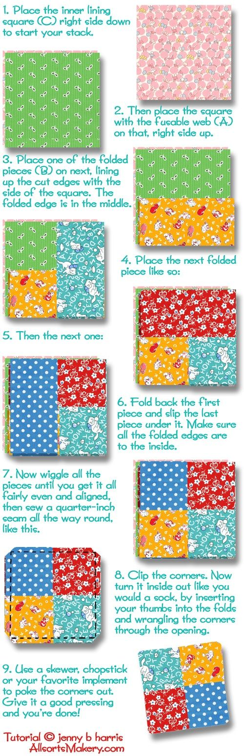 Free Quilt Patterns: Easy Folded Coasters free tutorial courtesy of Jenny Harris of Allsorts at allsortsmakery.com http://freequiltpatterns.blogspot.com/2013/04/easy-folded-coasters.html