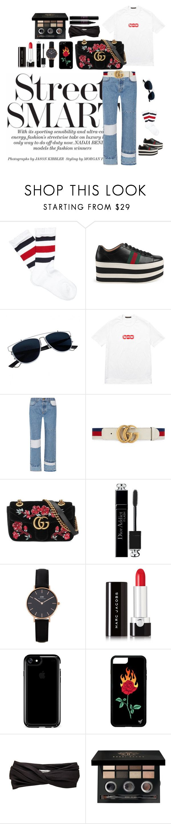 """""""The Bold Type"""" by reinvents ❤ liked on Polyvore featuring Gucci, Christian Dior, Louis Vuitton, Current/Elliott, Daniel Wellington, Marc Jacobs, Speck, Eugenia Kim, Bobbi Brown Cosmetics and Lancôme"""