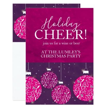 Christmas party holiday bauble pink invitations - pink gifts style ideas cyo unique