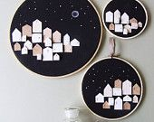 Items similar to MADE OF STARS -Set of 3 -tiny wooden houses on hoop-neutral  neutral art print painting on Etsy