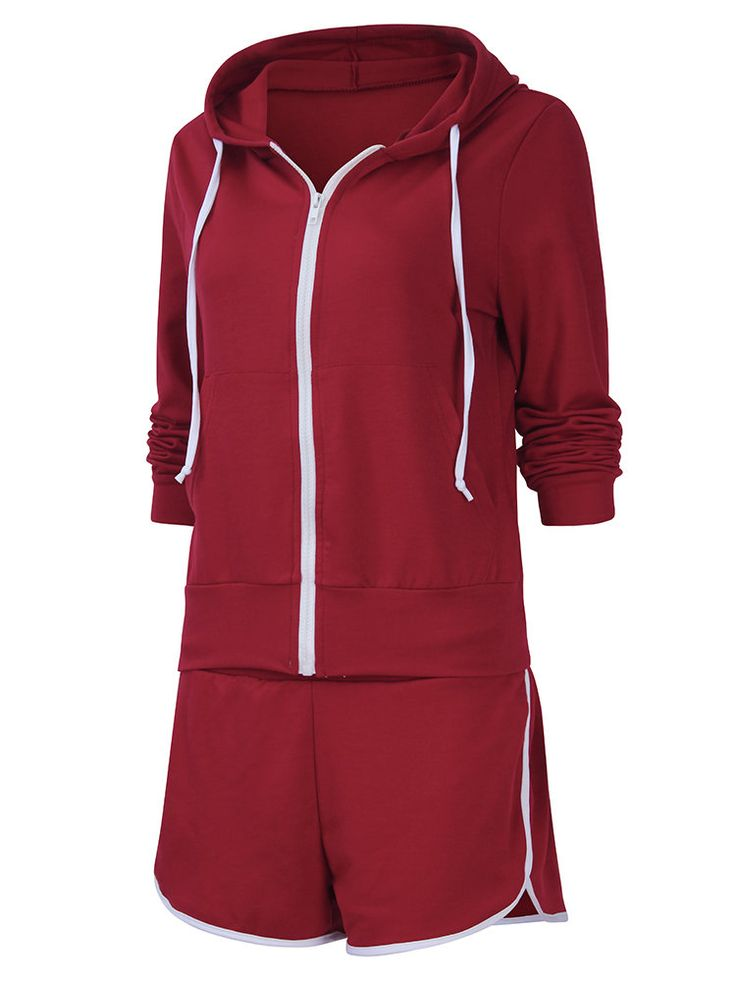 Casual Women Zipper Hooded Sweatshirt Sets at Banggood
