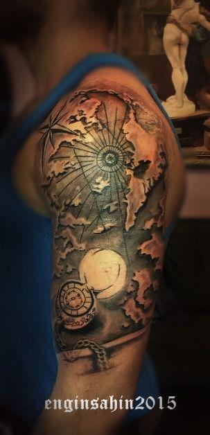 engin şahin - tattoo - dövme - compass tattoo - map tattoo - harita dövmesi - pusula dövmesi - tattoo artist - dövme sanatçısı - omuz dövmesi - shoulder tattoo - dövme sanatçısı - tattoo artist - taksim dövme - istanbul dövme