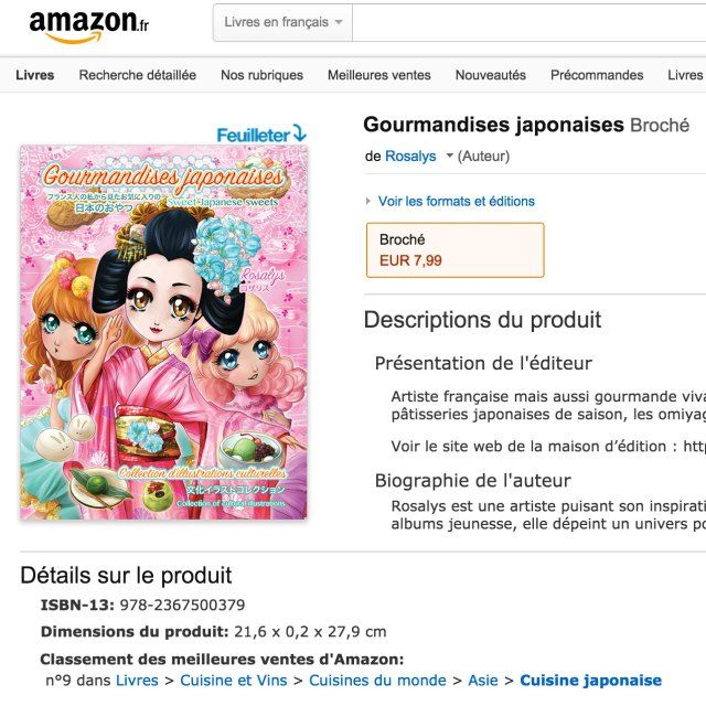 Gourmandises japonaises  parution du livre ! -  Parutions Amazon Gourmandises japonaises livre - from #rosalys at www.rosalys.net - work licensed under Creative Commons Attribution-Noncommercial