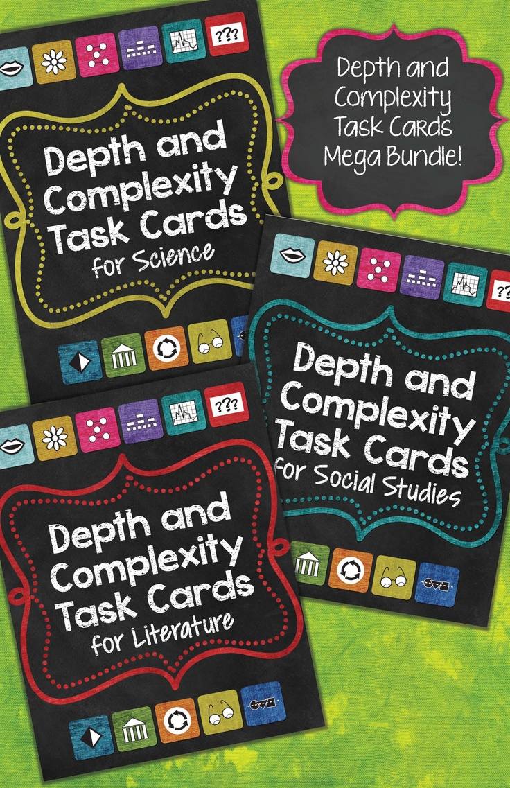 Bundle: Depth and Complexity Task Cards for Science, Social Studies, and Literature! 144 pages with 264 task cards. $