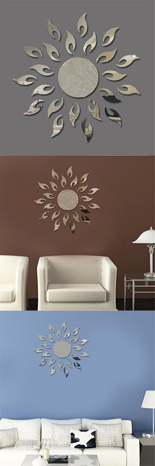 TIFENNY Luxury 3D Sunflower Home Decor Bell Cool Mirrors Wall Stickers Gold 3D Mirror Wall Stickers Living Room Entrance Bedroom TV Wall Decals Marriage Room Decorated (Silver)