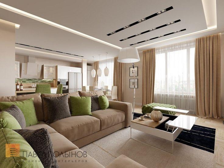Интерьер гостиной комнаты квартиры в ЖК Александрия