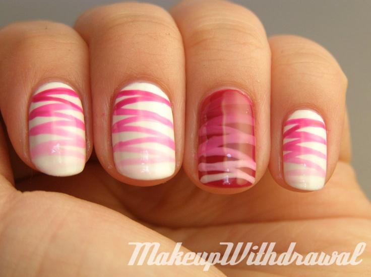 http://www.makeupwithdrawal.com/2012/01/day-10-gradient-nails.html: Gradient Zig Zag, Nails Art, Pink Stripes, Nailart, Cute Nails, Nails Design, Pink Ribbons, Gradient Nails, Zig Zag Nails