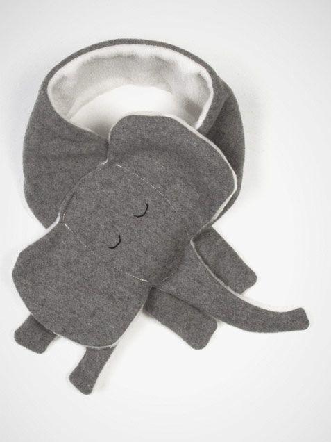 Kid's Elephant Scarf by Yohi & Olivia Scarf Elephant Kids gray
