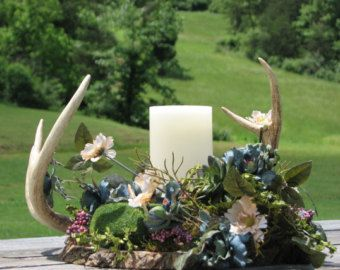 Deer Antler Centerpiece Camo Wedding Centerpiece by TheVineDesigns