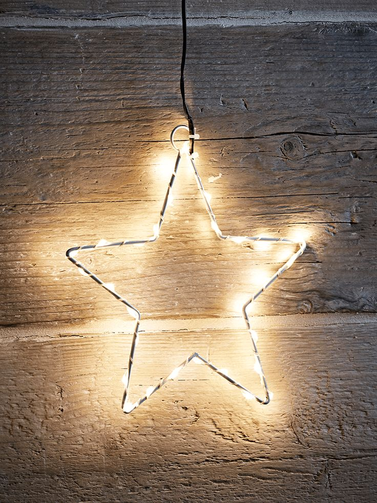 The perfect way to add a little sparkle to your home this Christmas, our small silhouette star has a wire frame and shines with warm white LEDs. Makes a fabulous alternative to a tree topper, as shown on our Super Frosted Sage Christmas Tree and our Premium Pre-Lit Christmas Tree.