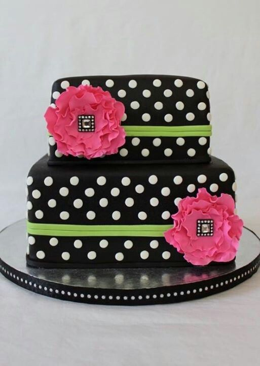 Black, Lime Green and Pink Cake with White Polka Dots