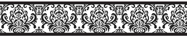 Black and White Isabella Wall Border | Classic Damask Wallpaper Borders Great For Any Room