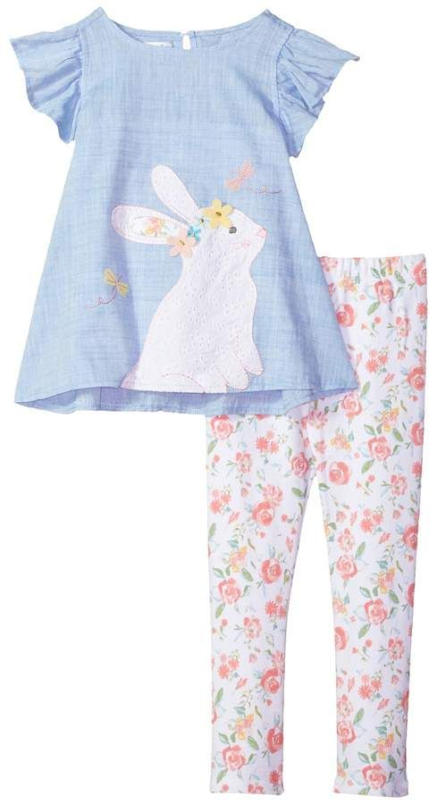 f7e4def2f Mud Pie - Floral Easter Bunny Tunic and Leggings Two-Piece Set Girl's Suits  Sets, Easter Outfit, Spring Clothing, Kids Fashion #ad