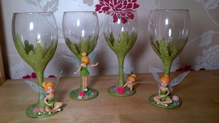 Disney Tinkerbell Figure Glitter Wine Glass  Wedding Birthday Bridesmaid gift