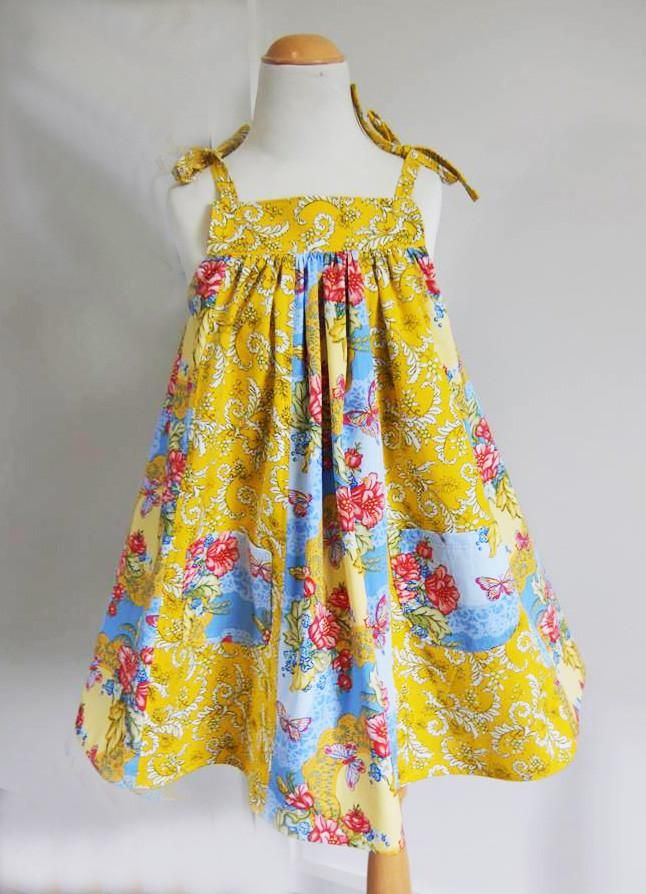 Daisy Sundress PDF Sewing Pattern and Tutorial sizes 6-9 months to 8 years.