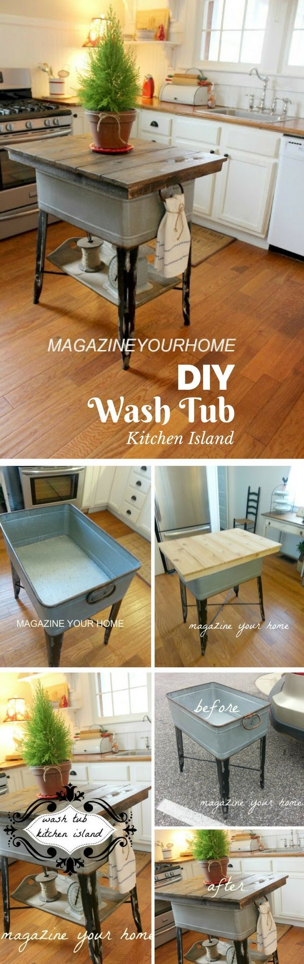 Check out the tutorial on how to build a DIY kitchen island from a wash tub @istandarddesign