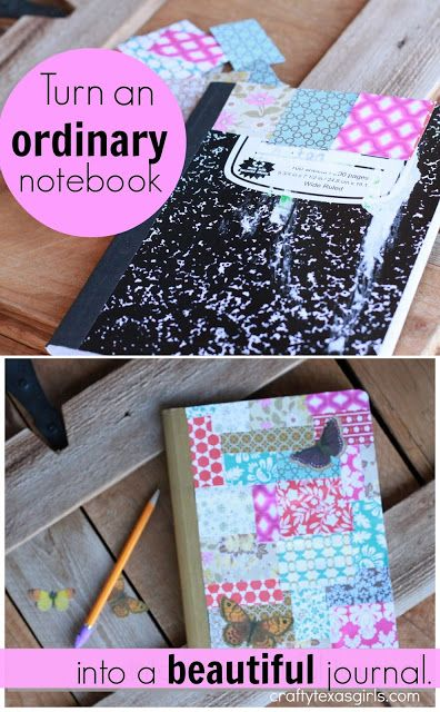 fun way to cover composition notebook cover with paper scraps