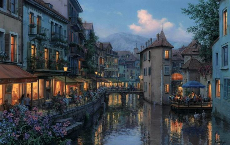 Evening in annecy - Beautiful Paintings By Evgeny Lushpin