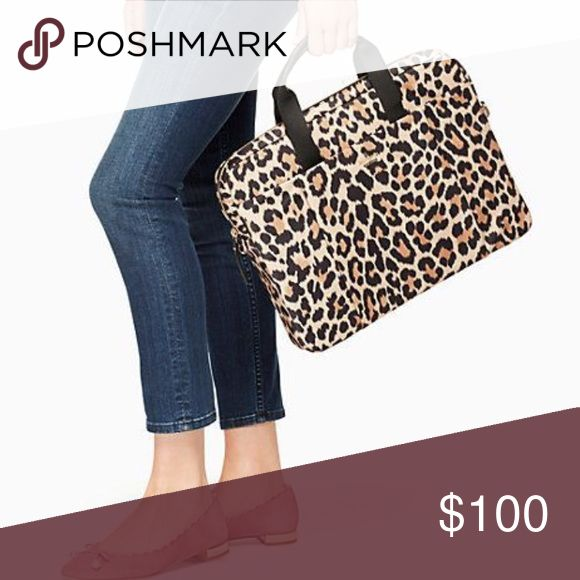 """Kate Spade leopard laptop shoulder bag Used a few times. No flaws or condition issues. Fits 13"""" laptops. Comes with shoulder straps kate spade Bags Laptop Bags"""