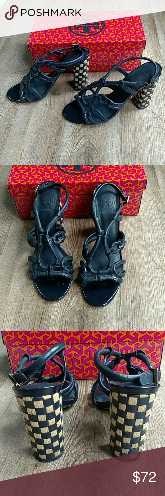 Tory Burch Layce Navy High Heel Sandal Great condition, worn about 3 times. Only issue I can see is some dirt on the inside of the heels. Leather, with fabric and leather heels. Fits on the snug size of 8.5. Will send with box but it is not the original box. Tory Burch Shoes Heels