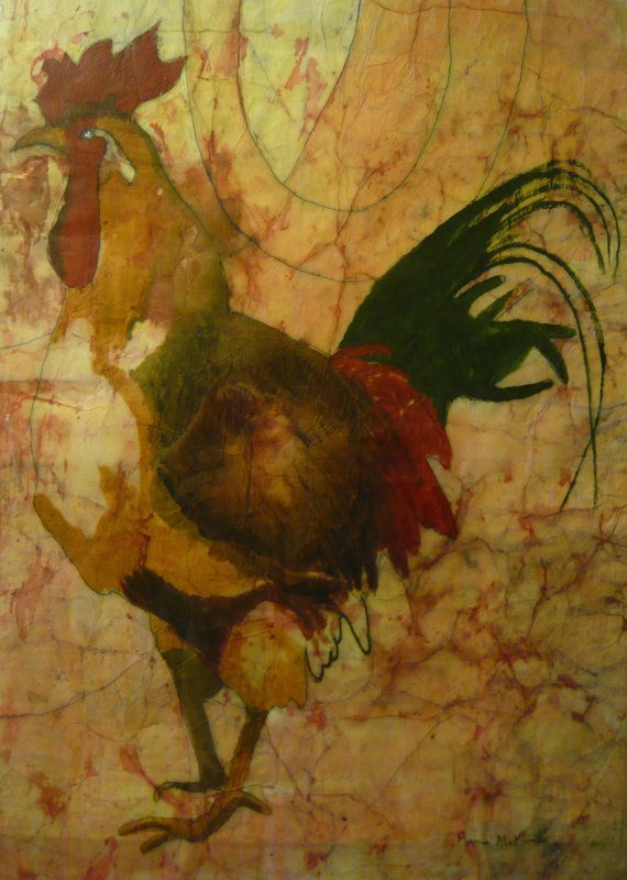 Rooster painting folk art kitchen art by marciamckinzieart for Paintings for kitchen area
