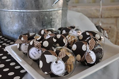 milk and cookies~ mini cookies in a small cookie jar~ favor