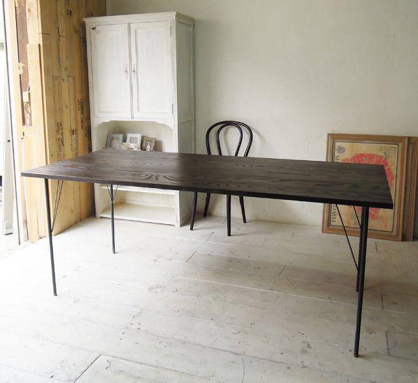 アイアンダイニングテーブル,鉄脚無垢板