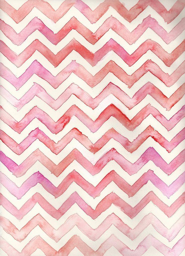 Watercolor Chevron #pink #pattern | Fondos | Pinterest