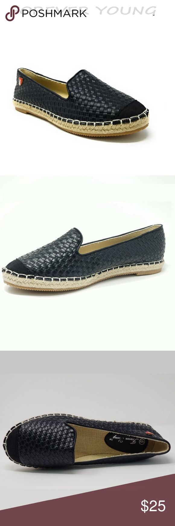 """Women Wicker Espadrille Flats, E-2601, Black Brand new Forever Young super popular stitched espadrille smocking slippers with basket weave design. Extra soft insoles. Textured rubber outer sole for traction. Cute emblem in the back. 100% man made PU vegan leather. Measurements: sizes 6 through 8 are true to size. Sizes 8.5 - 11 run small. Standard 3 inch width. Size 8 measures 9.5 inches, sz 8.5 = 9 3/4"""", sz 9 = 10"""", sz 10 = 10.5"""", size 11 fits a true size 9.5 wearer. Slip on these loafers…"""