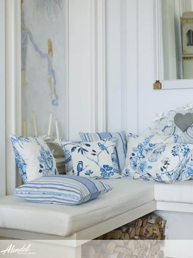 Alendel Fabrics Showstopper Collection | Patterns Birdcage in colour Colonial Blue & Ribbons in Colonial Blue