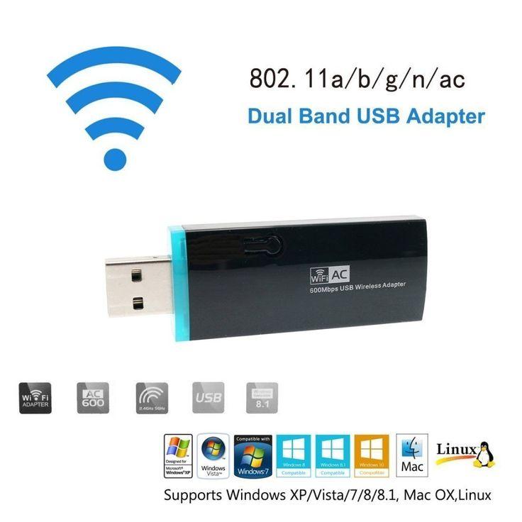 Urant WLAN Stick 600Mbps Dual Band 5GHz / 2.4GHz USB WLAN Adapter  Windows XP / 7/ 8 / 8.1 / 10 / Mac OS. Click visit to buy #games