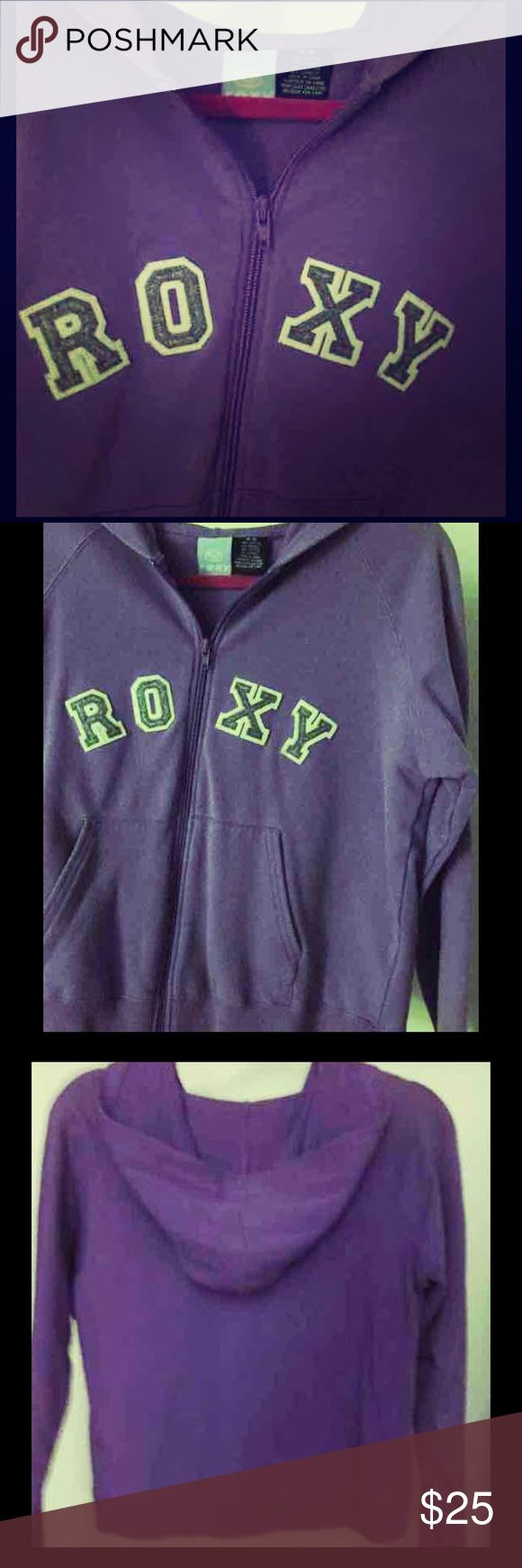 Roxy Purple Zip Up Hoodie Sz m Carefully loved but time for closet refresh! Comfy and roomy with front slash pockets. Grey Roxy embroidered lettering across chest. Roxy Sweaters