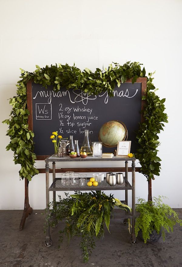 Shaw Chalkboard and Grover Rolling Shelf found at Found Vintage Rentals