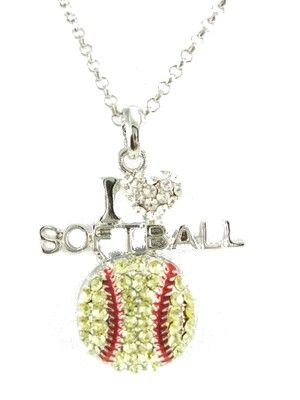 I love softball necklace
