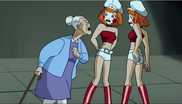 Nana Harley Quinn yelling at Dee Dee. Batman Beyond: Return of the Joker