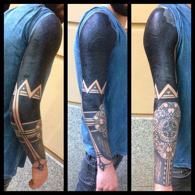 Cool Blackwork Tattoo Sleeve with Elbow Mandala